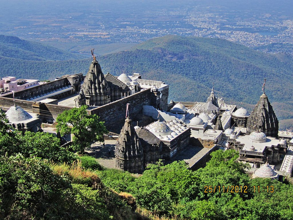 Jain_temples_on_Girnar_mountain_aerial_view